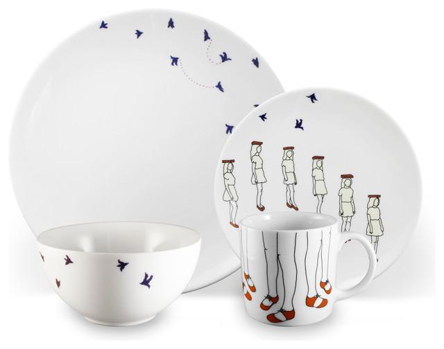 Ink Dish - December 16-piece Dinnerware Set by Alyson Fox - Dinnerware Sets  sc 1 st  Houzz & Whimsical Dinnerware | Houzz
