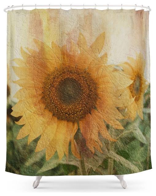 Society6 Sunflower Shower Curtain farmhouse-shower-curtains - Society6 Sunflower Shower Curtain - Farmhouse - Shower Curtains