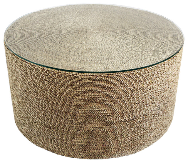 Round seagrass rope table beach style coffee tables for Seagrass coffee table