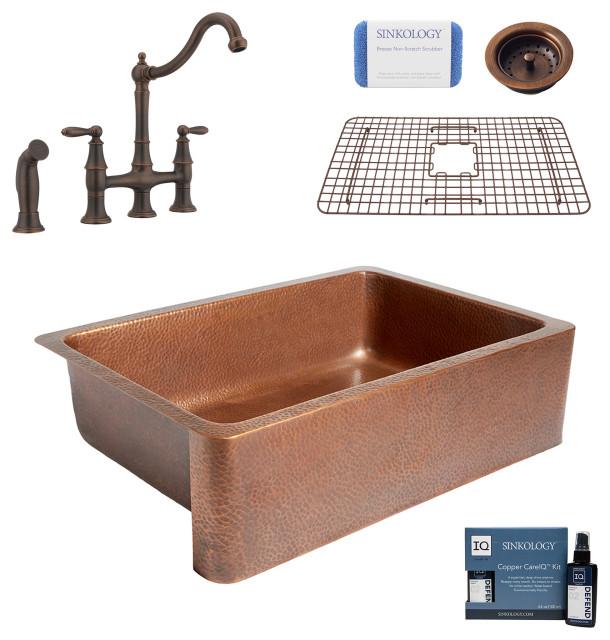 "Adams 33"" Farmhouse Copper Kitchen Sink, Bridge Faucet and Strainer Drain"