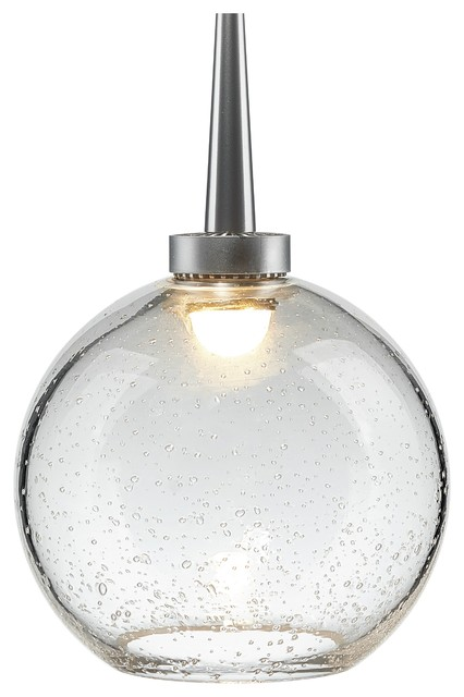 """Bobo 1, Pendant, LED, 4"""" Kiss Canopy, Matte Chrome With Clear Glass Shade"""