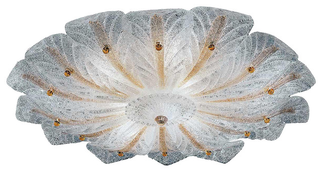 Lorne Murano Glass Ceiling Light, Transparent And Amber.