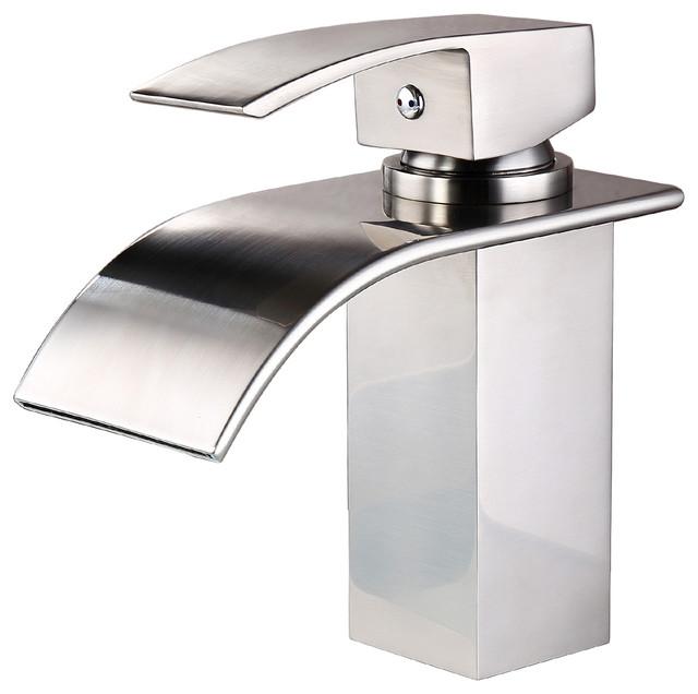 Single Handle Single Hole Deck Mount Waterfall Bathroom Sink Faucet