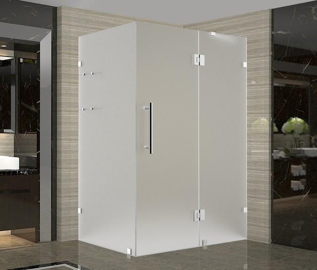 "Avalux GS 48""x34""x72"" Completely Frameless Shower Enclosure+Shelves Frost Chrome"