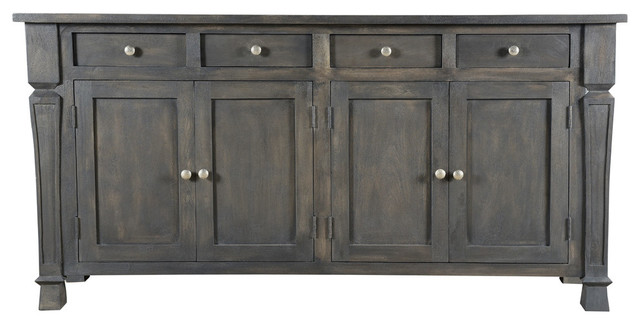 Carmenita 4 Door Sideboard, Gray Finish With Nickle Knob by Moti