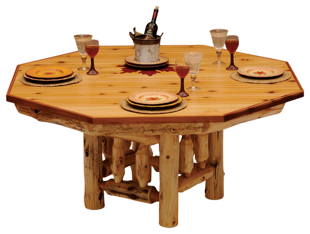Elegant Cedar Dining Table Cover For 8 Sided Poker Table  Standard Finish Rustic  Game
