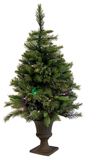Pre-Lit Mixed Pine Cashmere Potted Artificial Christmas Tree, Multi LED, 3.5'