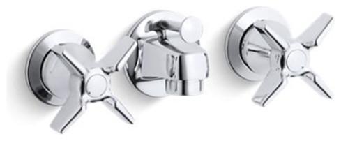 Kohler Triton Shelf Back Commercial Bath Faucet W Pop Up Drain Polished Chrome Contemporary Bathroom Sink Faucets By Buildcom
