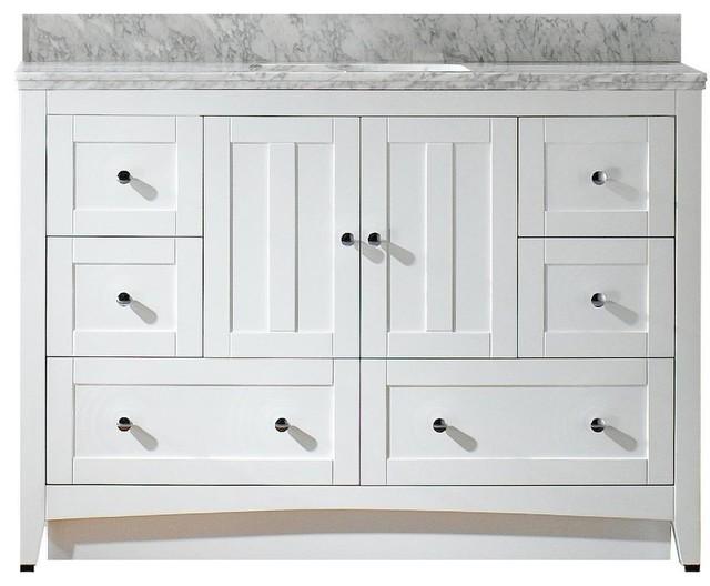 """Plywood-Veneer Vanity Set, White, 47.5""""x18""""."""