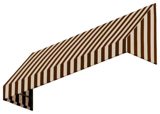 """10&x27; New Yorker Window, Entry Awning, 31"""" Hx24"""" D, Brown/tan."""