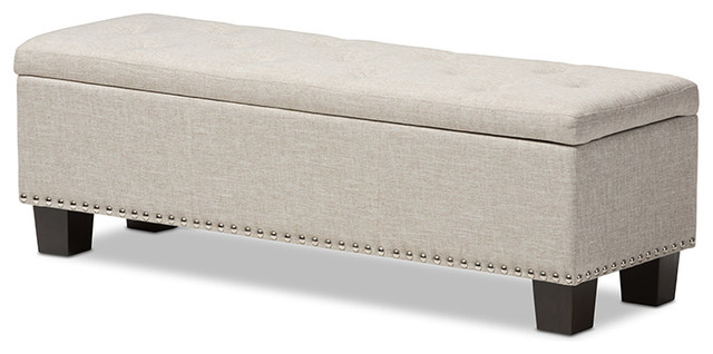 Pleasant Hannah Upholstered Button Tufting Storage Ottoman Bench Beige Gmtry Best Dining Table And Chair Ideas Images Gmtryco
