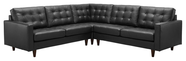 Empress 3 Piece Leather Sectional Sofa Set in Black