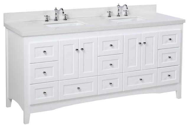 "Abbey 72"" Double Bath Vanity, Base: White, Top: Quartz"