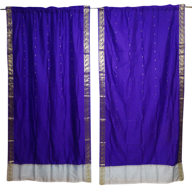 Enjoyable Window Treatment Draperies Blue Indian Silk Sari Door Panel Home Decor Curtains Interior Design Ideas Inamawefileorg