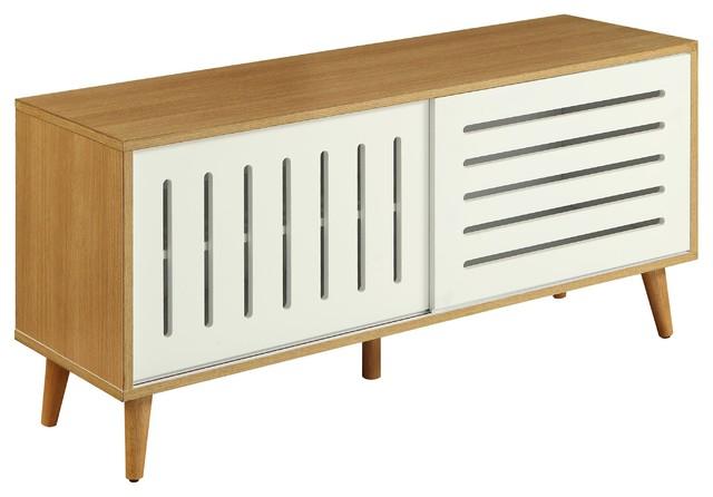 Acme Kollia Console Table, Natural And White.