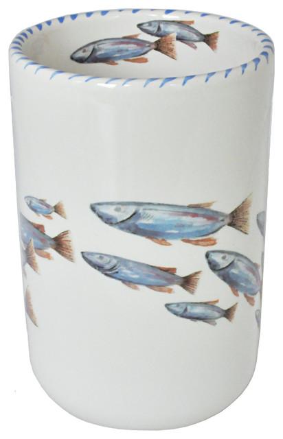 Lake Fish Wine Bottle Holder - Utensil Holder/vase By Abbiamo Tutto.