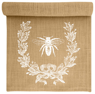Bee Crest Burlap Table Runner