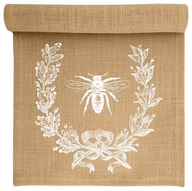 Bee Crest Burlap Table Runner