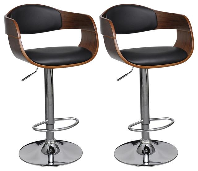 vidaXL Adjustable Swivel Bar Stools Leather With Backrest, Set of 2
