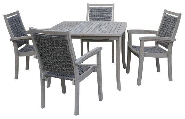 5 Piece Gray Wash Eucalyptus And Driftwood Gray Wicker Square Dining Set Tropical Outdoor Dining Sets By Outdoor Interiors Houzz
