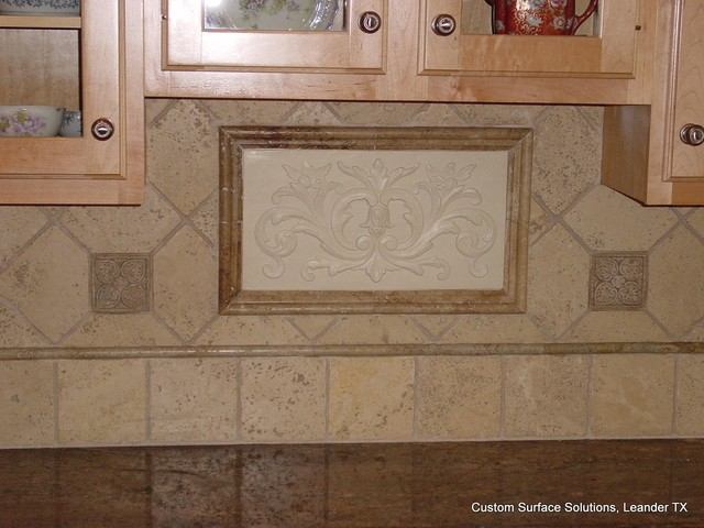 Kitchen Granite Counter And Travertine Tile Backsplash