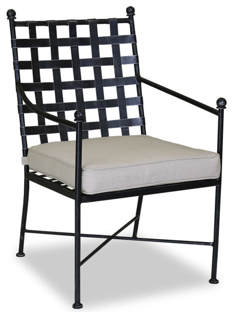 Provence Dining Chair With Cushions, Canvas Flax Contemporary Outdoor  Dining Chairs
