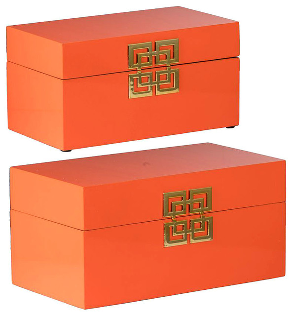 Decorative Boxes Orange Set Of 2