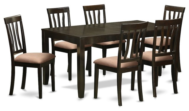 7-Piece Formal Dining Room Set, Kitchen Table With Leaf, 6 Chairs