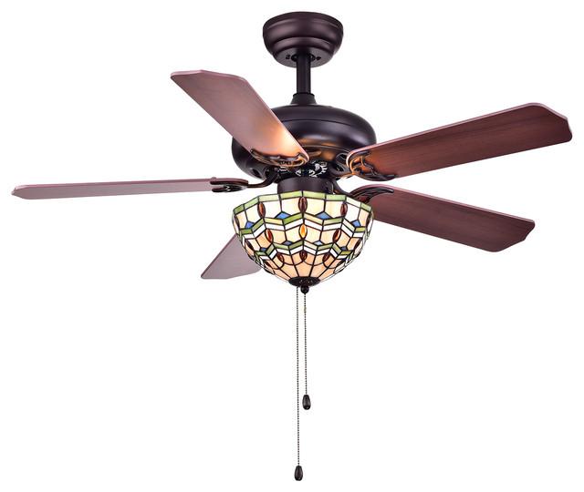 "Doretta Tiffany Bowl 3-Light Ceiling Fan, 42""."