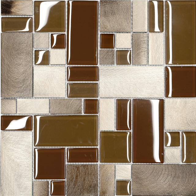 Brown Metal Glass Modern Kitchen Mosaic Backsplash Tile, 12\