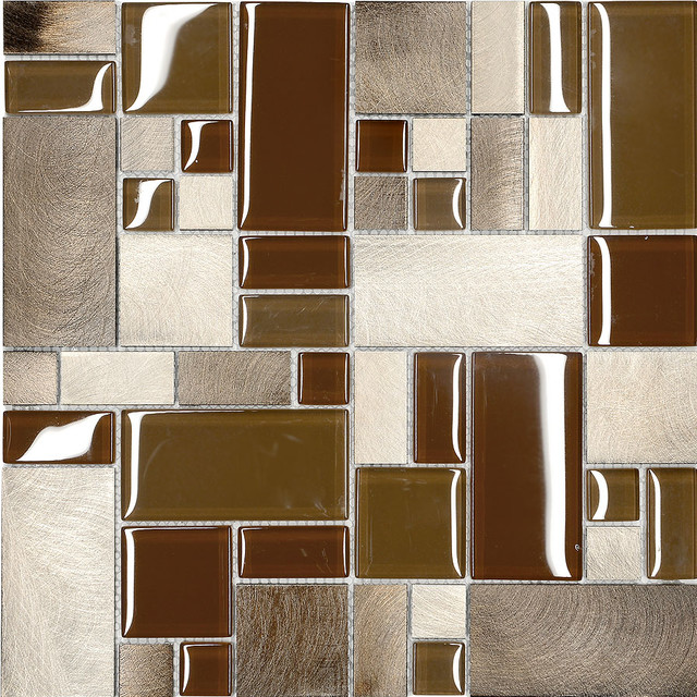 Modern Mosaic Tile Backsplash Brown Metal Glass Modern Kitchen Mosaic Backsplash Tile  Modern .