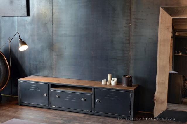 nos meubles tv bois acier de style industriel industriel angers par micheli design. Black Bedroom Furniture Sets. Home Design Ideas