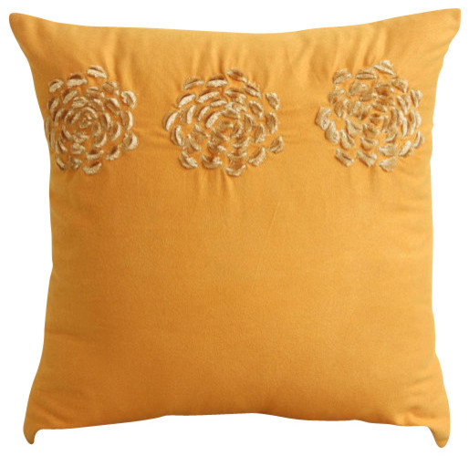 Origami Flower Gold Pillow Covers, Faux Suede Pillow Covers 16x16, Gold Sawaan
