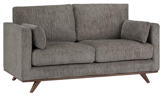 "Calvin Mid Century Modern 63"" Wide Sofa Loveseat, Granite Chenille Look Fabric"