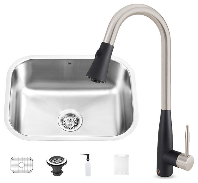 ... Steel Undermount Kitchen Sink and Milburn Faucet Set - Kitchen Sinks
