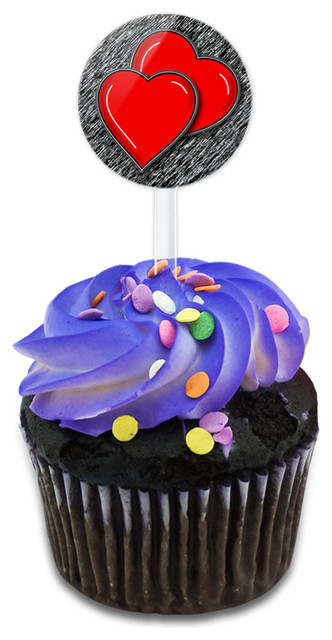 Two Red Hearts Basic Cupcake Toppers Picks Set.
