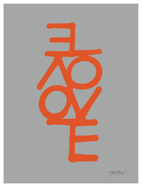 """Love"" Paper Print by Ylva Skarp, Grey and Orange, 30x40 cm"