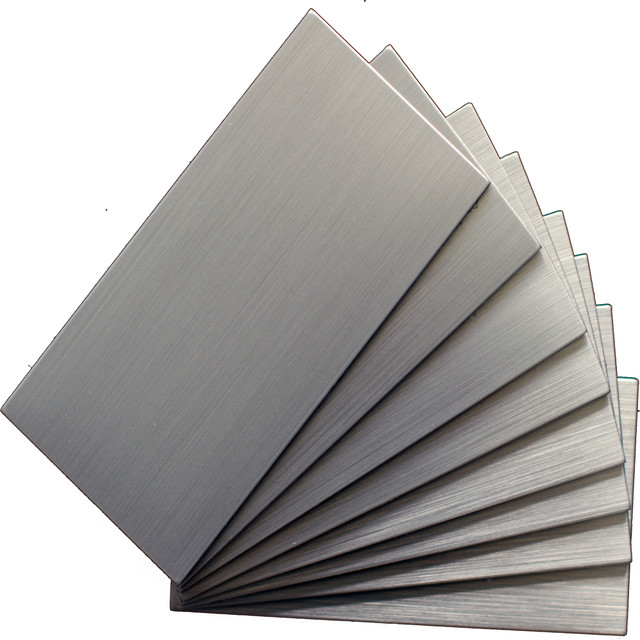 """12""""x12"""" Peel And Stick Brushed Stainless Color Metal Wall Tile, Set Of 48."""