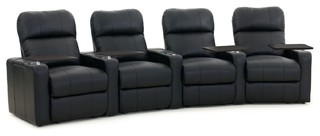 Octane Turbo XL700 Row of 4 Curved, Manual Recline, Black Bonded Leather