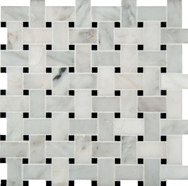 Marbleville Llc 12 X12 Arabeo Carrara Basketweave Pattern Honed Mosaic Small Piece
