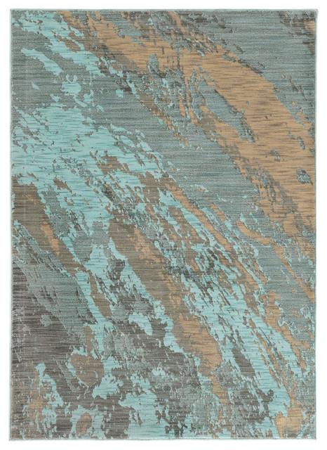 "Sedona 6367a Blue/gray Abstract Area Rug, 5&x27;3""x7&x27;6""."