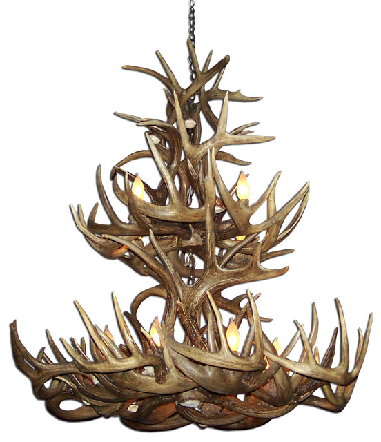 Whitetail Deer Tall Boy 2-Tier Antler Chandelier Light, Extra Large, No Shades