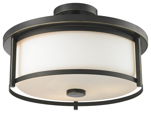 3 Light Semi Flush Mount Olde Bronze.