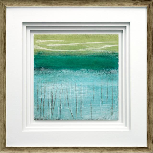 """shoreline Memories I"" By Heather Mcalpine, Brown Distressed Molding, 21""x21""."