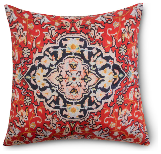 "Textured Embroidered Decorative Pillow, Casablanca, 18""x18"""