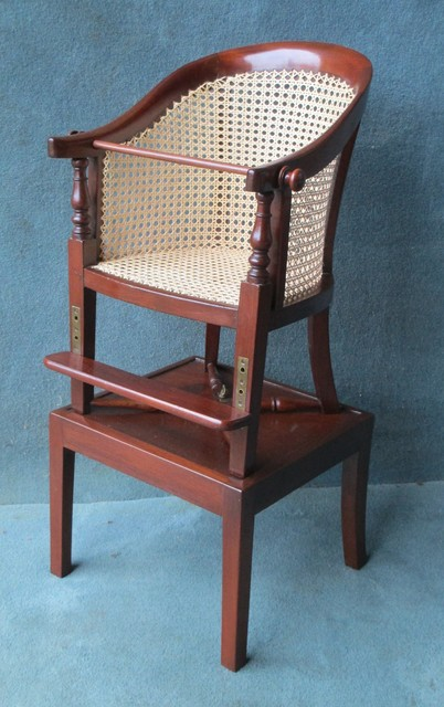 VICTORIAN MAHOGANY CANED CHILDS HIGH CHAIR