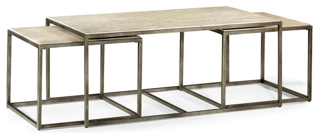 Modern Basics Rectangular 3 Piece Coffee Table Set Industrial Coffee Tables