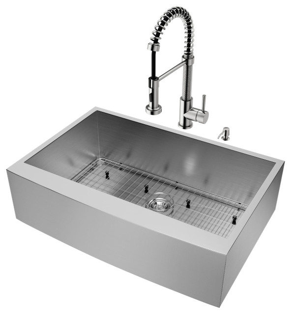VIGO All-In-One Camden Stainless Steel Farmhouse Kitchen Sink Set, 33""