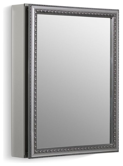 "Kohler 1-Door Aluminum Cabinet/decorative Silver Framed Door, 20""x26""x4.83""."