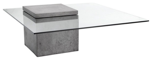 Modern Glass Coffee Table With Polished Concrete Industrial